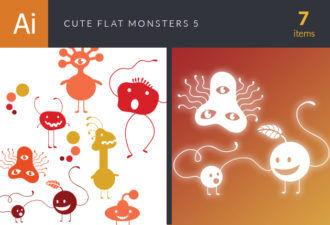 Cute Flat Monsters Vector Set 5 Vector packs monsters