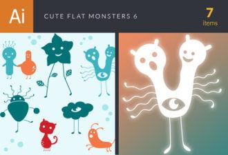 Cute Flat Monsters Vector Set 6 Vector packs monster
