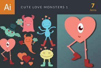 Cute Love Monsters Vector Set 1 Vector packs heart