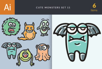 Cute Monsters Vector Set 11 Vector packs monster