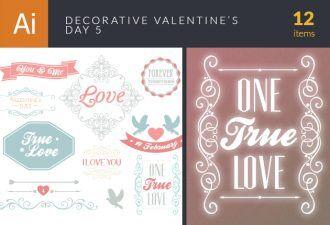 Decorative Valentine's Day Vector Set 5 Vector packs vintage