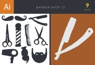 Barber Shop Set 15 Vector packs knife