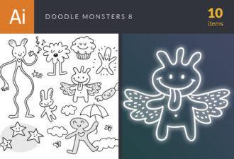 Doodle Monsters Vector Set 8 Vector packs doodle
