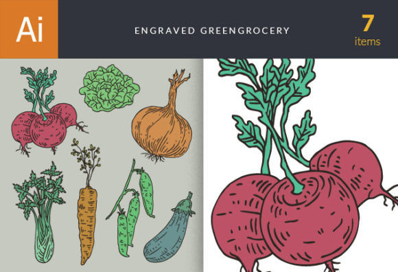 Engraved Green Grocery Vector Set 1 Vector packs vintage