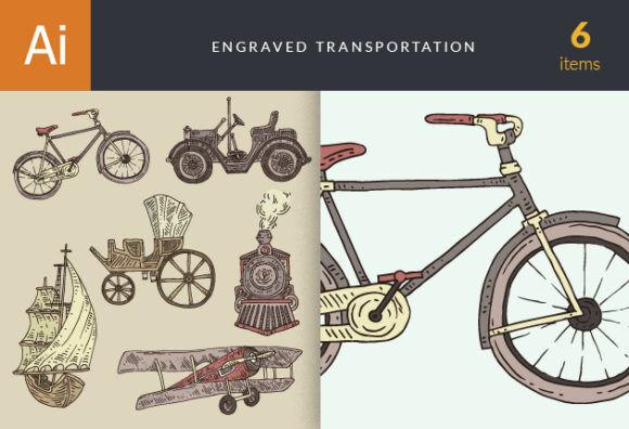 Engraved Transportation Vector Set 1 Vector packs vintage