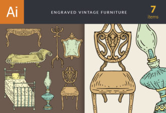 Engraved Vintage Furniture Vector Set 1 Vector packs vintage