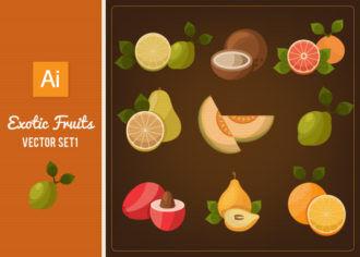 Exotic Fruits Vector Set 1 Vector packs lemon