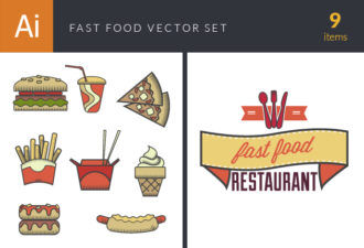 Fast Food Vector Set 4 Vector packs glass