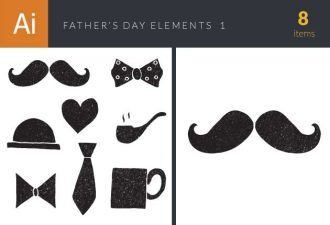 Father's Day Elements Set 1 Vector packs bow