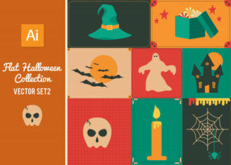 Flat Halloween Collection Set 2 Vector packs skull