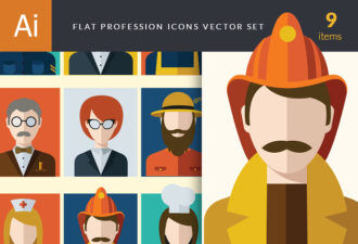Flat Icons Professions Vector Set 1 Vector packs people
