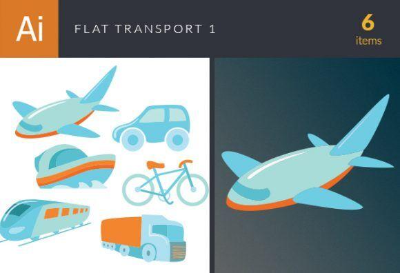 Flat Transport Vector Set 1 Vector packs car