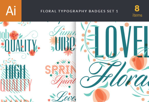 Floral Type Badges Vector packs summer