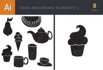 Food and Drinks Elements Set 1 Vector packs glass