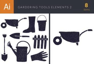 Gardening Tools Vector Elements Set 2 Vector packs glove