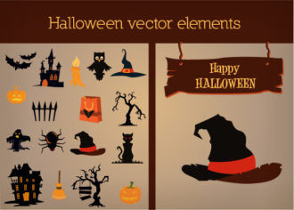 Halloween Vector Elements Set 1 Vector packs tree