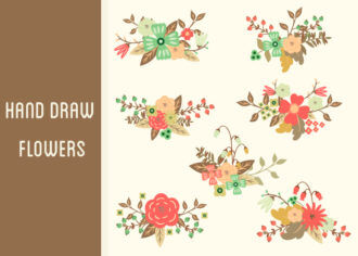 Hand-Drawn Flowers Set 2 Vector packs nature