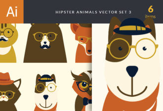 Hipster Animals Vector Set 3 Vector packs cat
