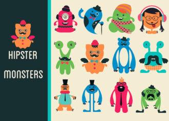 Hipster Monsters Vector Set 1 Vector packs monsters