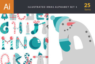 Illustrated Xmas Typography Vector packs symbol