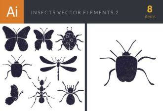 Insects Vector Elements Set 2 Vector packs butterfly