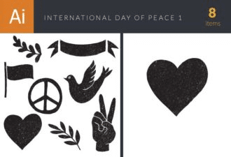 International Day of Peace Elements Set 1 Vector packs ribbon