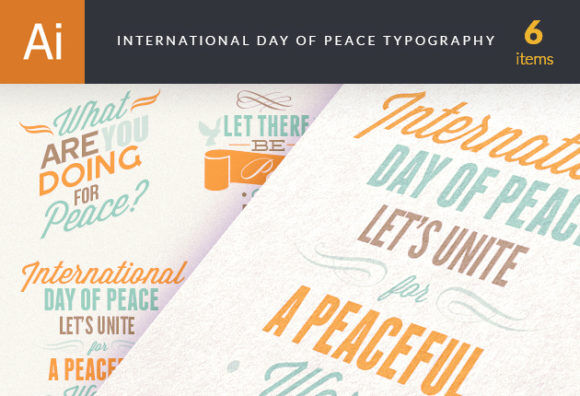International Day of Peace Typography Set 1 Vector packs Editor's Picks - Typography