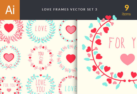 Love Frames Vector Set 3 Vector packs heart