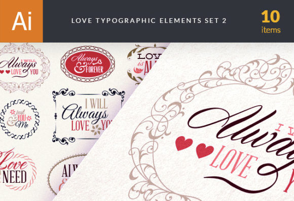 Love Typography Elements Set 2 Vector packs vintage