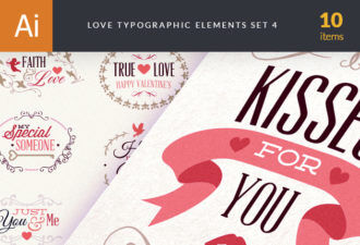 Love Typography Set 3 Vector packs vintage