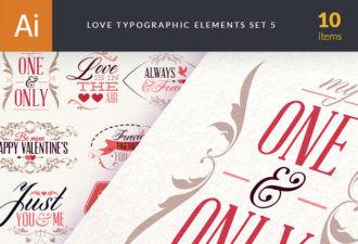 Love Typography Set 4 Vector packs vintage