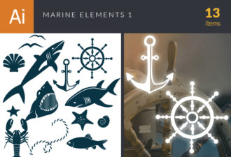 Marine Icons Vector Set 1 Vector packs shell
