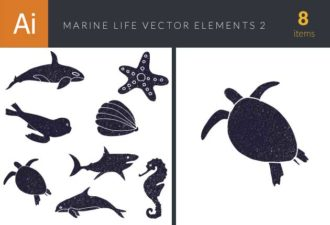 Marine Life Underwater Vector Set 2 Vector packs tortoise