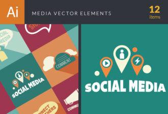 Media Elements Vector packs flat