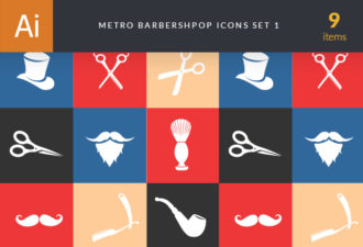 Metro Barber Shop Icons 1 Vector packs hat