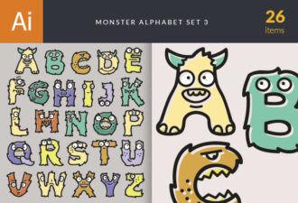 Monster Alphabet Set 3 Vector packs monster