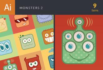 Monsters Vector Set 2 Vector packs monsters