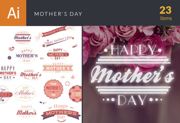 Mother's Day Set 2 Vector packs flat