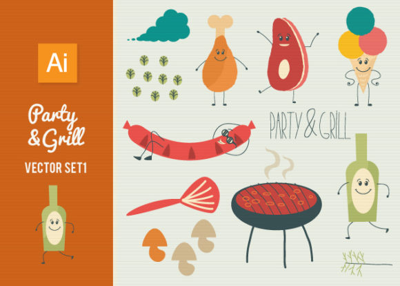 Party Grill Vector Set 1 Vector packs ice cream