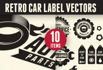 Retro Car Labels Set 1 Vector packs drop
