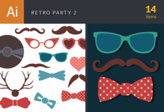 Retro Party Set Vector Set 2 Vector packs retro