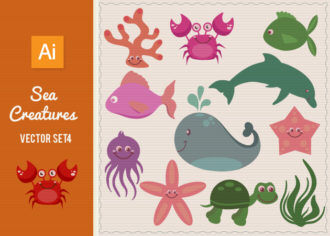 Sea Creatures Vector Set 4 Vector packs shell
