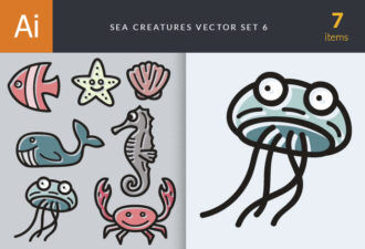 Sea Creatures Vector Set 6 Vector packs shell