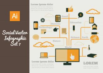 Social Vector Infographics Set 7 Infographics flat