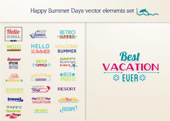 Happy Summer Days Vector Elements Set 1 Vector packs [tag]