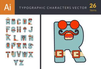 Typographic Characters Vector Set 6 Vector packs retro