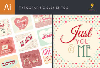 Typographic Elements Vector Set 2 Vector packs LOVE