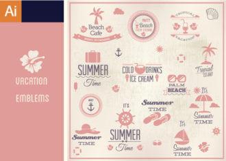 Vacation Emblems Vector Set Vector packs Editor's Picks - Vector Packs