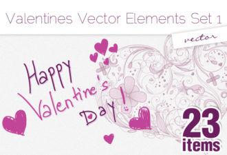 Valentine's Vector Elements Set 1-vector Vector packs flower