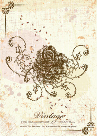 rose with grunge vector illustration Vector Illustrations old